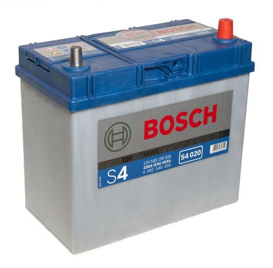 Автомобильный аккумулятор АКБ BOSCH (БОШ) S4 020 / 545 155 033 S4 Silver 45Ач о.п. (тонк. кл.)