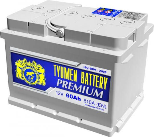 Автомобильный аккумулятор АКБ Тюмень Премиум (TYUMEN BATTERY) PREMIUM 6СТ-60LA 60Aч О.П. (низкий)