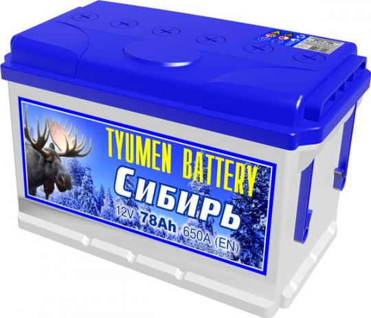 Автомобильный аккумулятор АКБ Тюмень (TYUMEN BATTERY) СИБИРЬ 6CT-78L 78Aч П.П.
