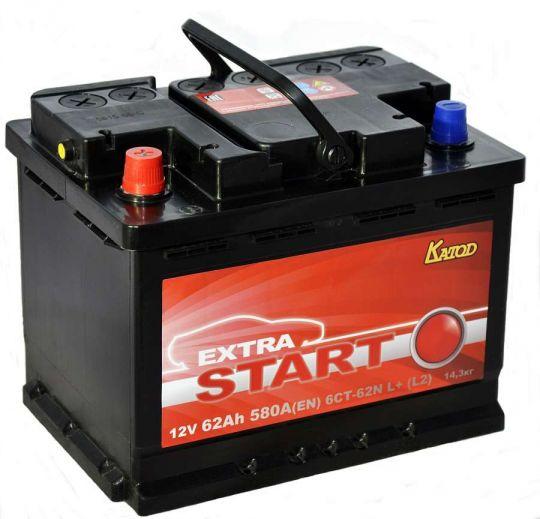 Автомобильный аккумулятор АКБ Extra START (Экстра Старт) 6CT-62 62Ач п.п.