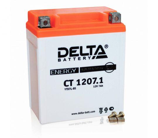 Мото аккумулятор АКБ Delta (Дельта) CT 1207.1 о.п. YTX7L-BS