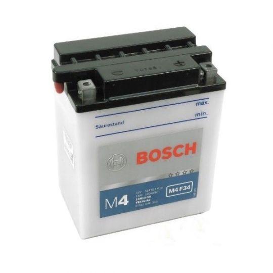 Мото аккумулятор АКБ BOSCH (БОШ) M4F 340 / M4 F34 moba 12V 514 011 014 A504 FP 14Ач о.п. (12N14-3A, YB14L-A2)