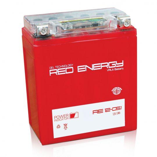 Аккумуляторная батарея АКБ RED ENERGY (РЭД ЭНЕРДЖИ) GEL RE 1205.1 YB5L-B, 12N5-3B 5Ач о.п.