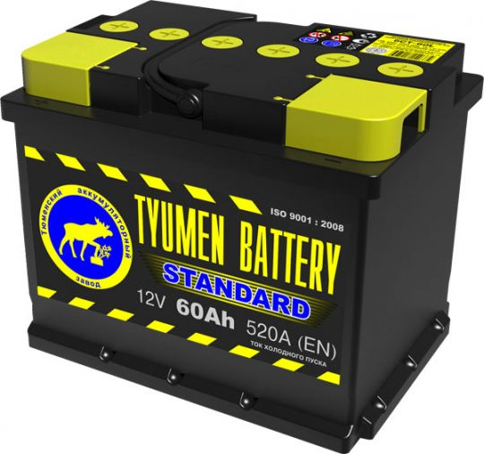 Автомобильный аккумулятор АКБ Тюмень (TYUMEN BATTERY) STANDARD 6СТ-60L 60Aч О.П.