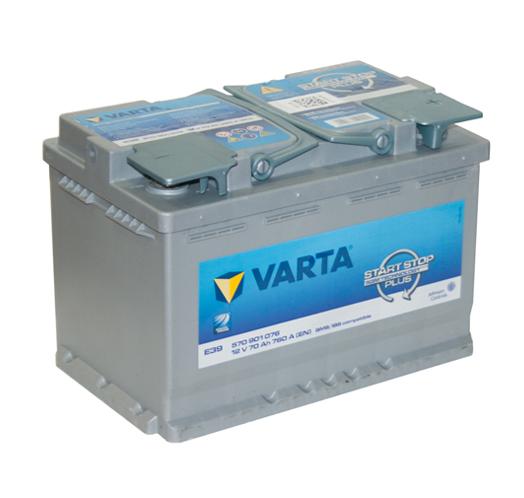 Автомобильный аккумулятор АКБ VARTA (ВАРТА) Start-Stop Plus Silver Dynamic AGM 570 901 076 E39 70Ач ОП