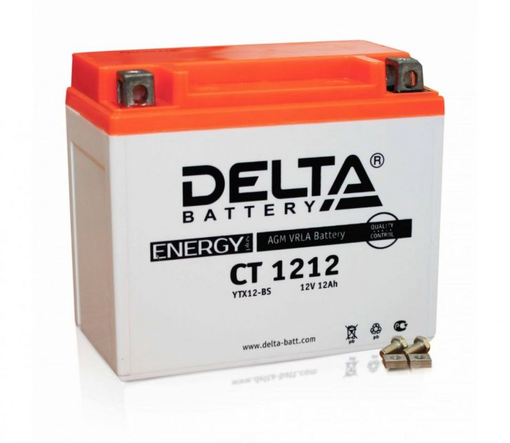 Мото аккумулятор АКБ Delta (Дельта) CT 1212 п.п. YTX14-BS, YTX12-BS