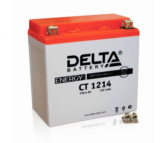 Мото аккумулятор АКБ Delta (Дельта) CT 1214 п.п. YTX16-BS, YB16B-A