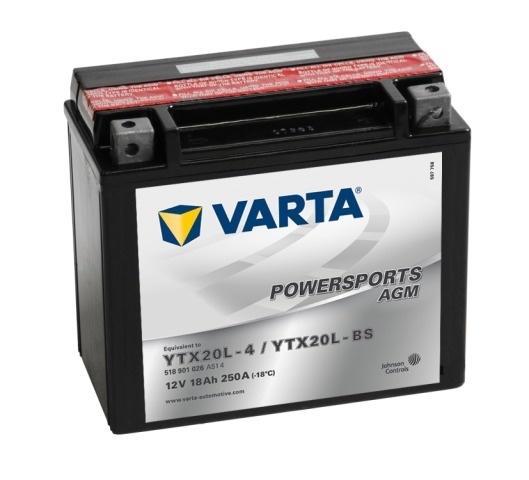 Аккумулятор для мототехники Varta 18Ач Moto AGM 518 902 026 (YTX20-BS) - фото 2