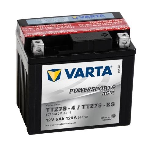 Мото аккумулятор АКБ VARTA (ВАРТА) AGM 507 902 011 A514 YTZ7S-4 / YTZ7S-BS / TTZ7S-BS 5Ач о.п.