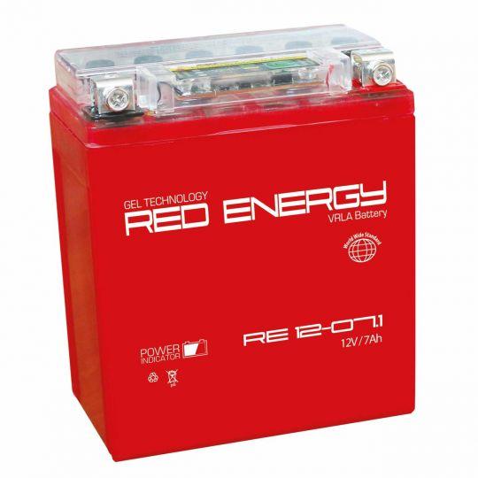 Аккумуляторная батарея АКБ RED ENERGY (РЭД ЭНЕРДЖИ) GEL RE 1207.1 YTX7L-BS 7Ач о.п.