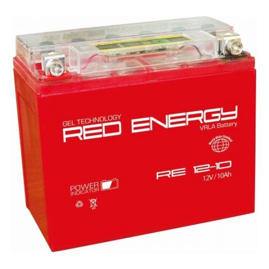 Аккумуляторная батарея АКБ RED ENERGY (РЭД ЭНЕРДЖИ) GEL RE 1210 YB9A-A, YB9-B, 12N9-4B-1 10Ач п.п.